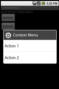 Aprendiendo Context Menu Android 2